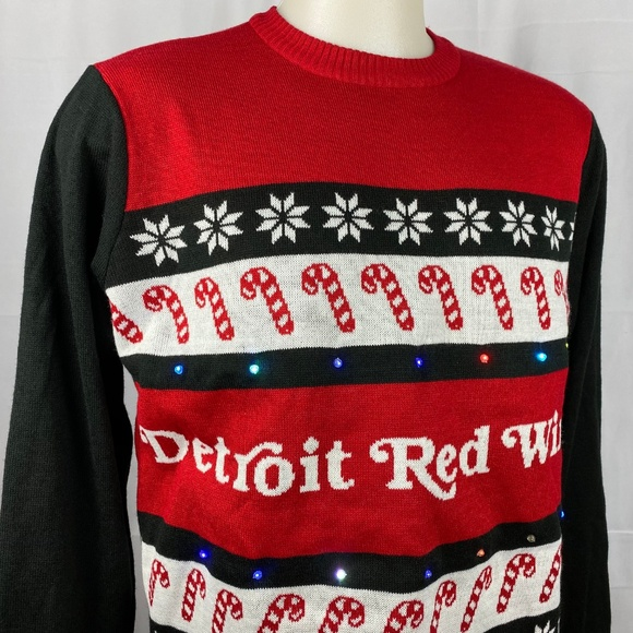 Detroit Red Wings Light Up Ugly Christmas Sweater Nwt